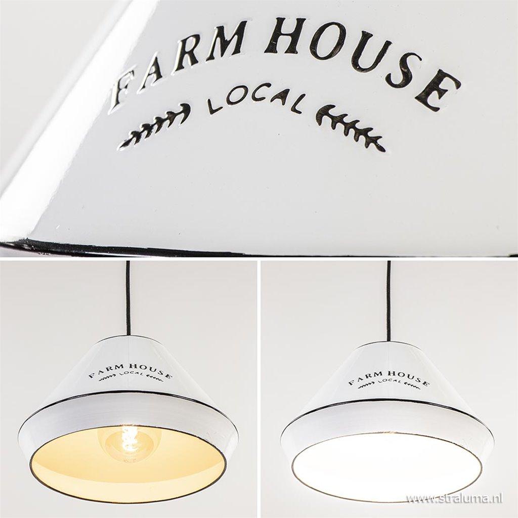 Landelijke hanglamp farm house wit met zwart Ø32 cm
