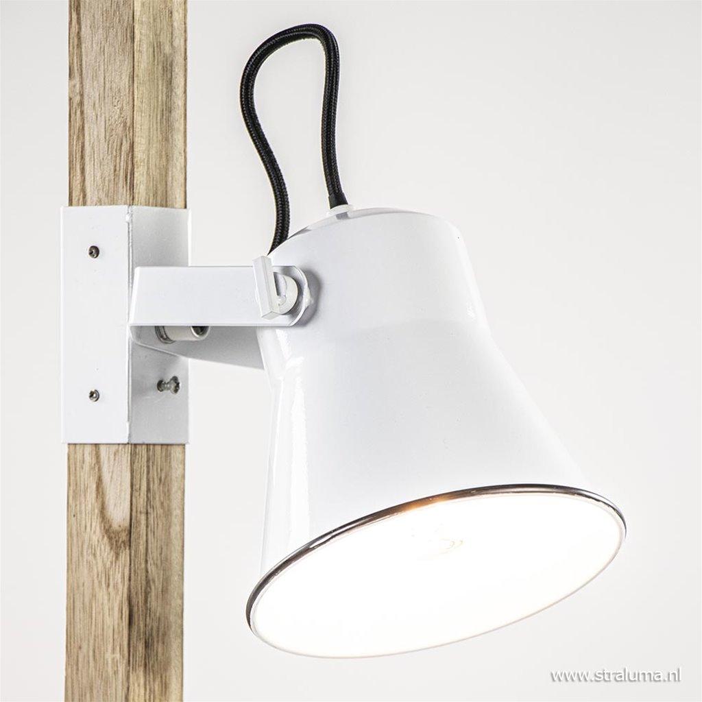 Landelijke 2-lichts vloerlamp hout met witte kappen