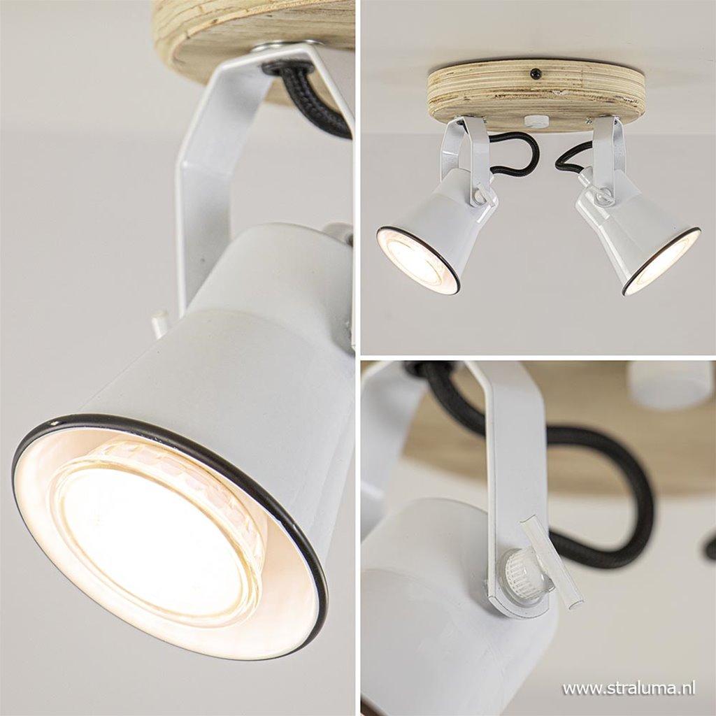 Landelijke plafondspot wit met hout 2-lichts GU10