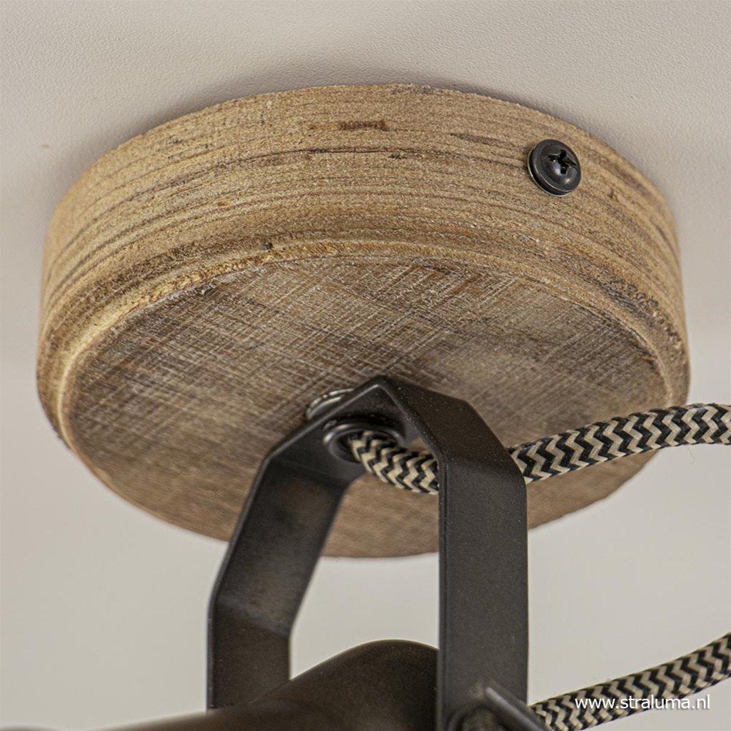 Landelijke plafondspot  Seed metaal met hout