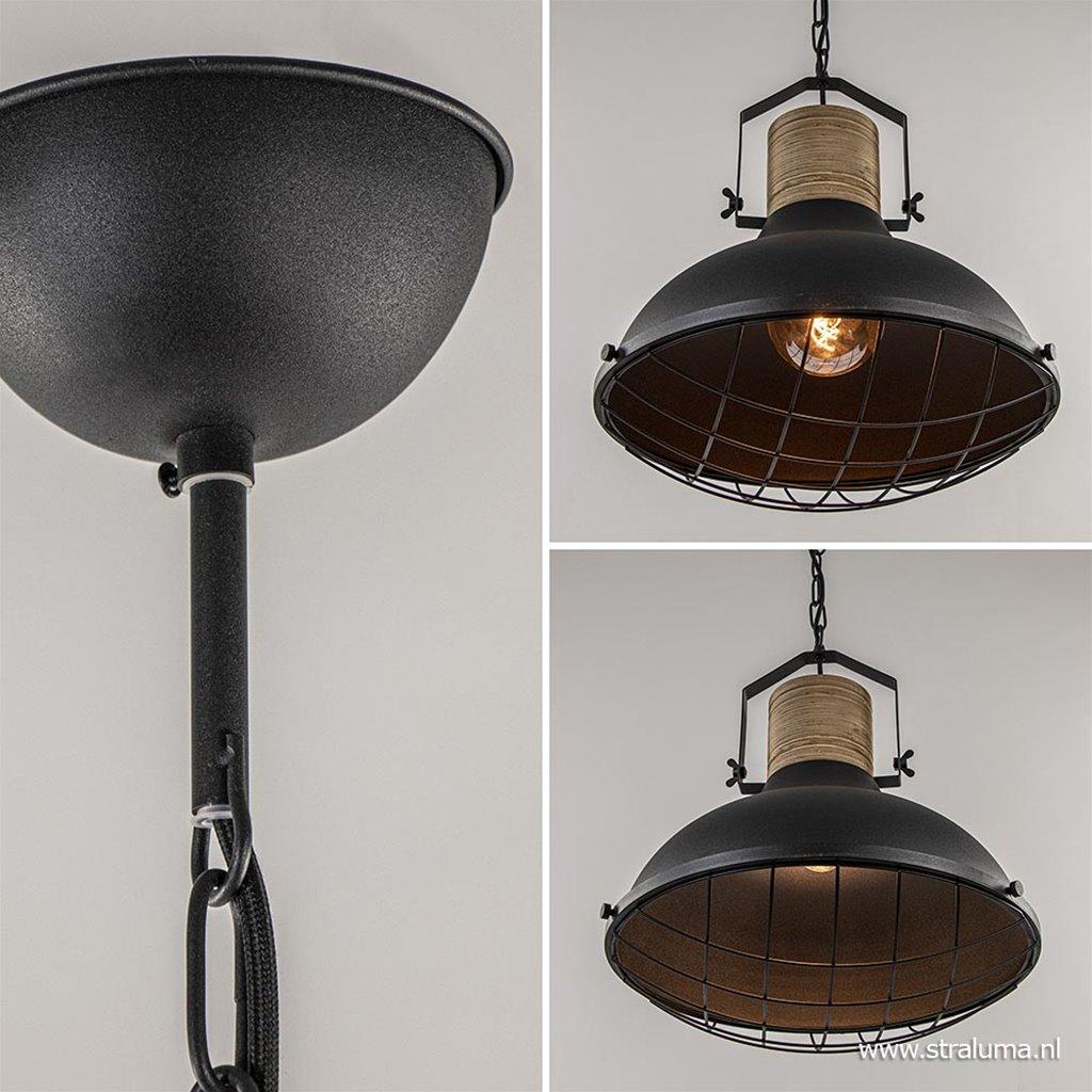 Hanglamp Emma zwart houten klos en grill Ø50
