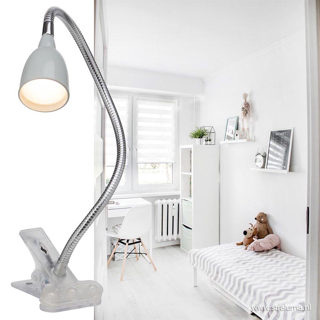 Moderne klemlamp LED met grijze kap