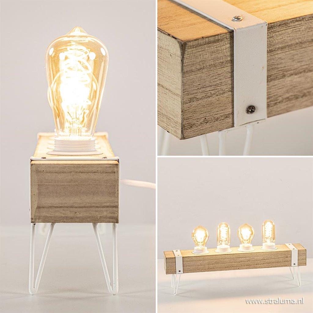 Tafellamp houten balk met witte pootjes 4-lichts exclusief lichtbron
