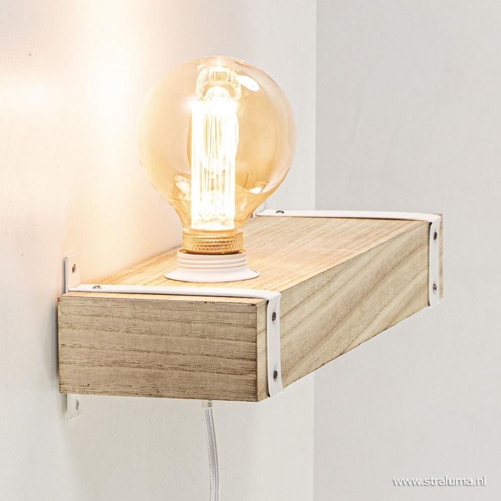 Decoratieve wandlamp houten plank met snoer