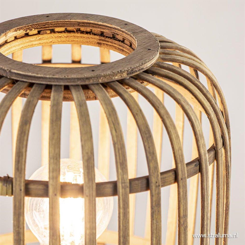 Driepoot tafellamp met rotan kap