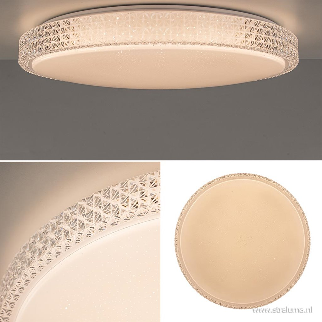 Kunststof plafondlamp kristallook LED met remote dimbaar