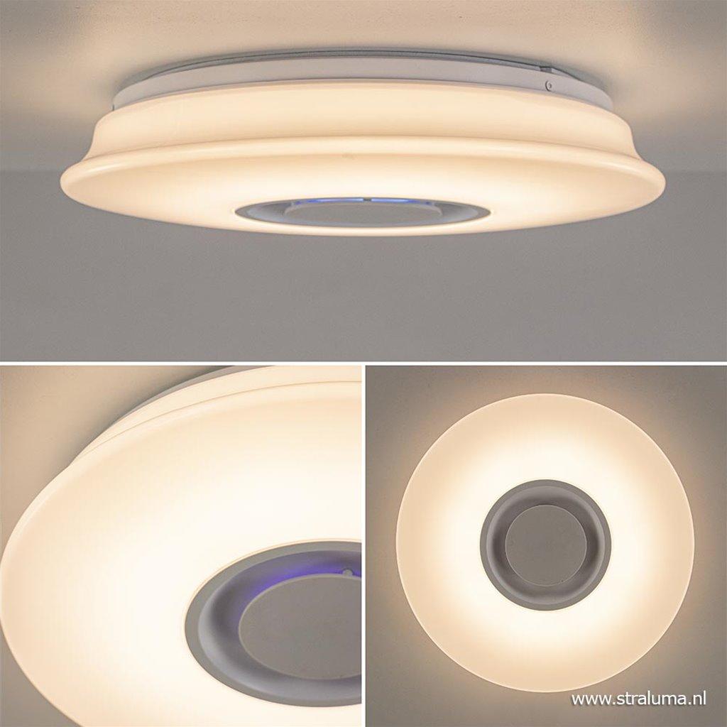 Moderne plafondlamp met speaker en gekleurd LED