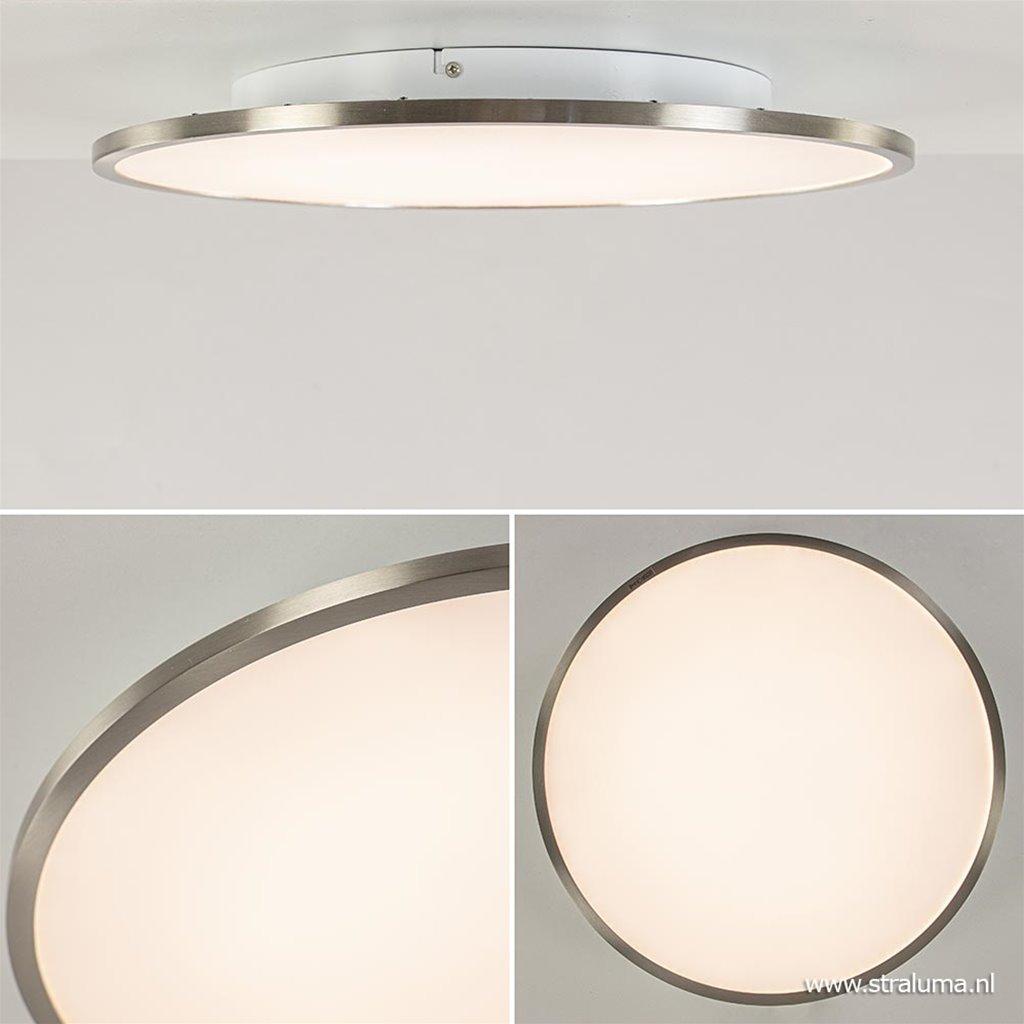 Moderne plafondlamp LED nikkel met wit easydim
