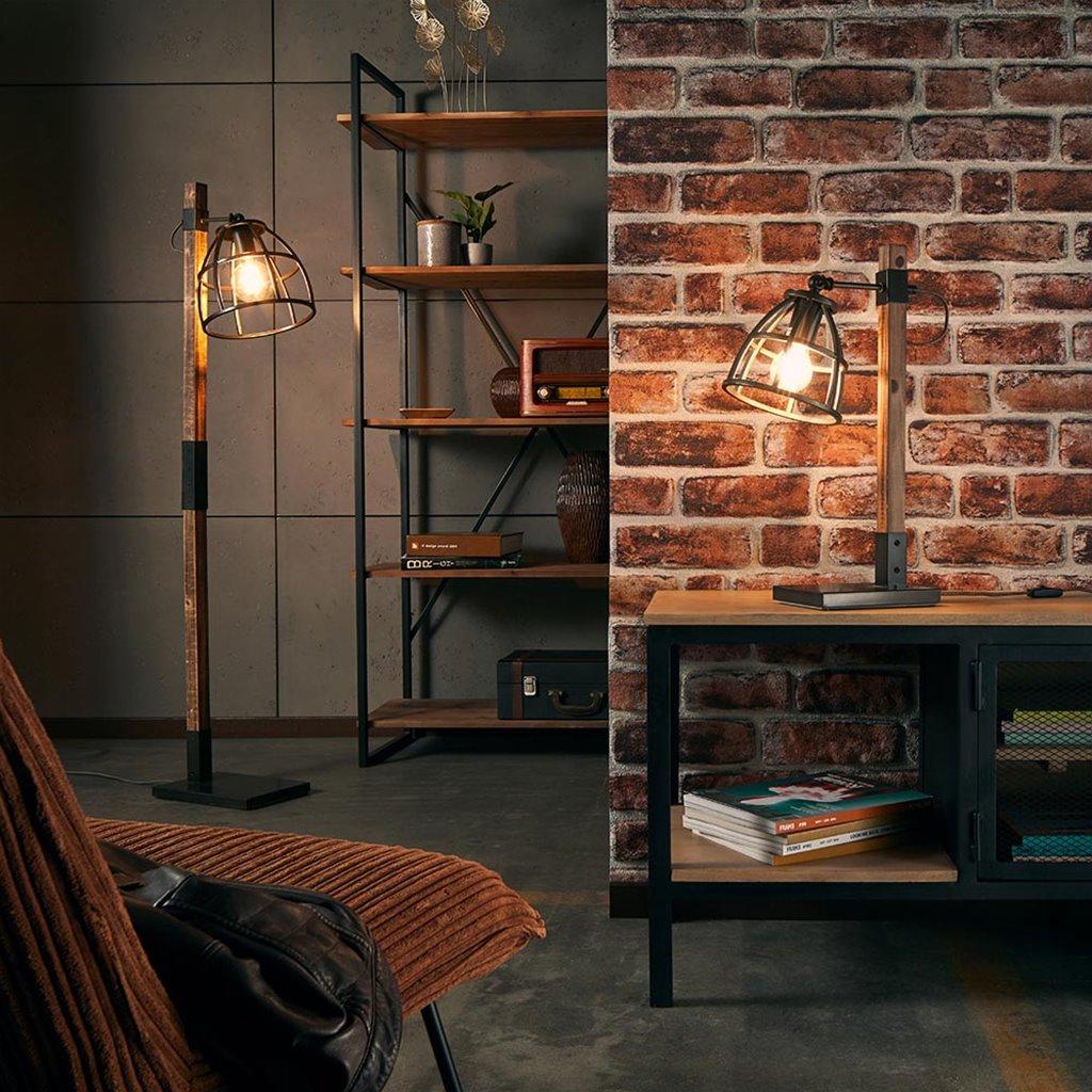 Industriële tafellamp Matrix hout met metalen korf