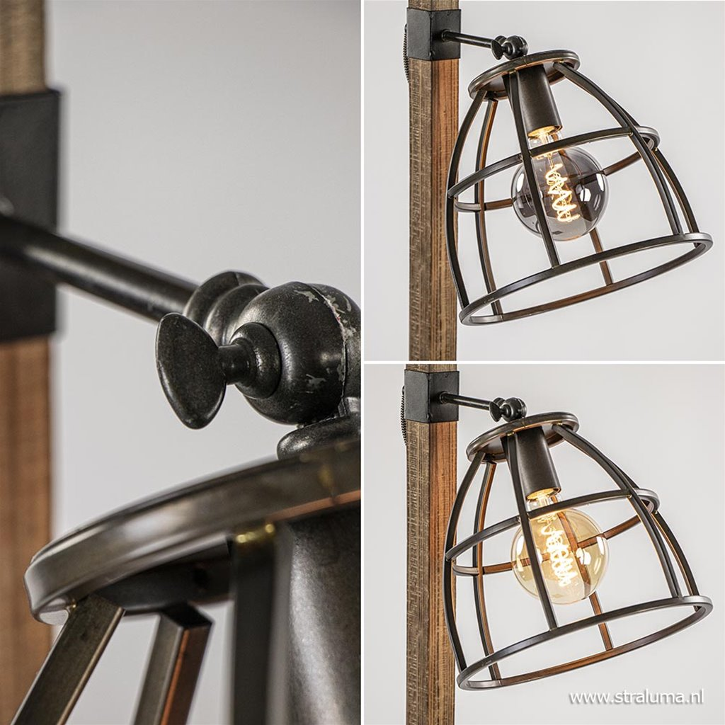 Industrieel landelijke vloerlamp Matrix hout met metalen korf