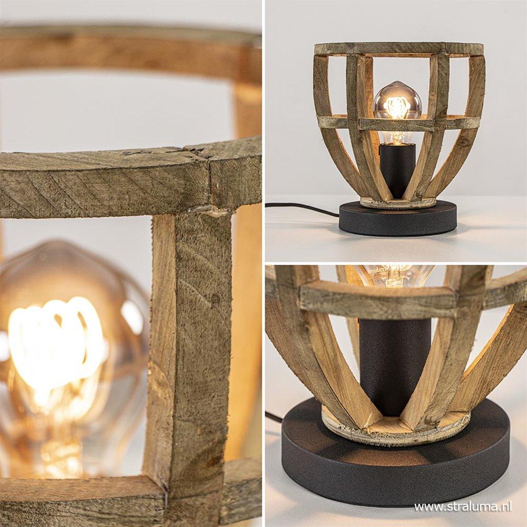 Kleine tafellamp houten korf met zwart
