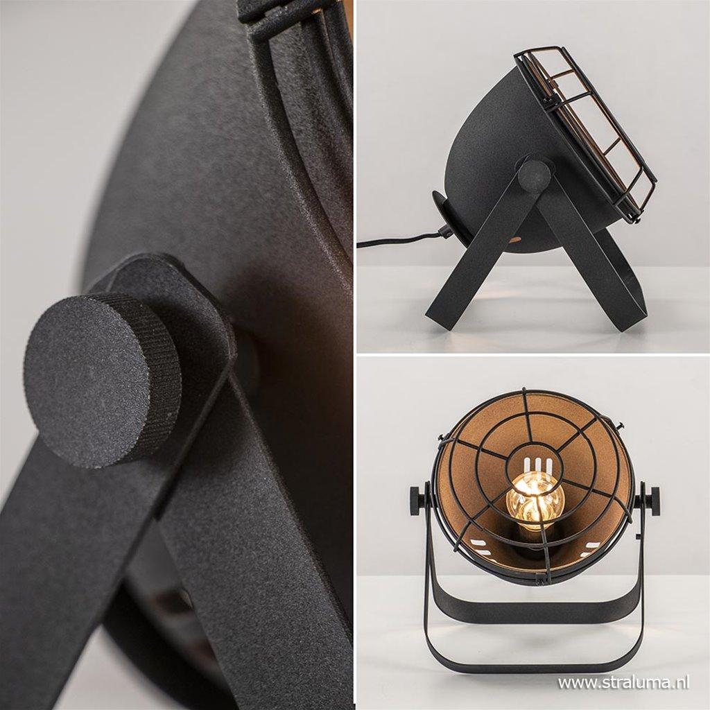 Stoere industriële tafellamp zwart