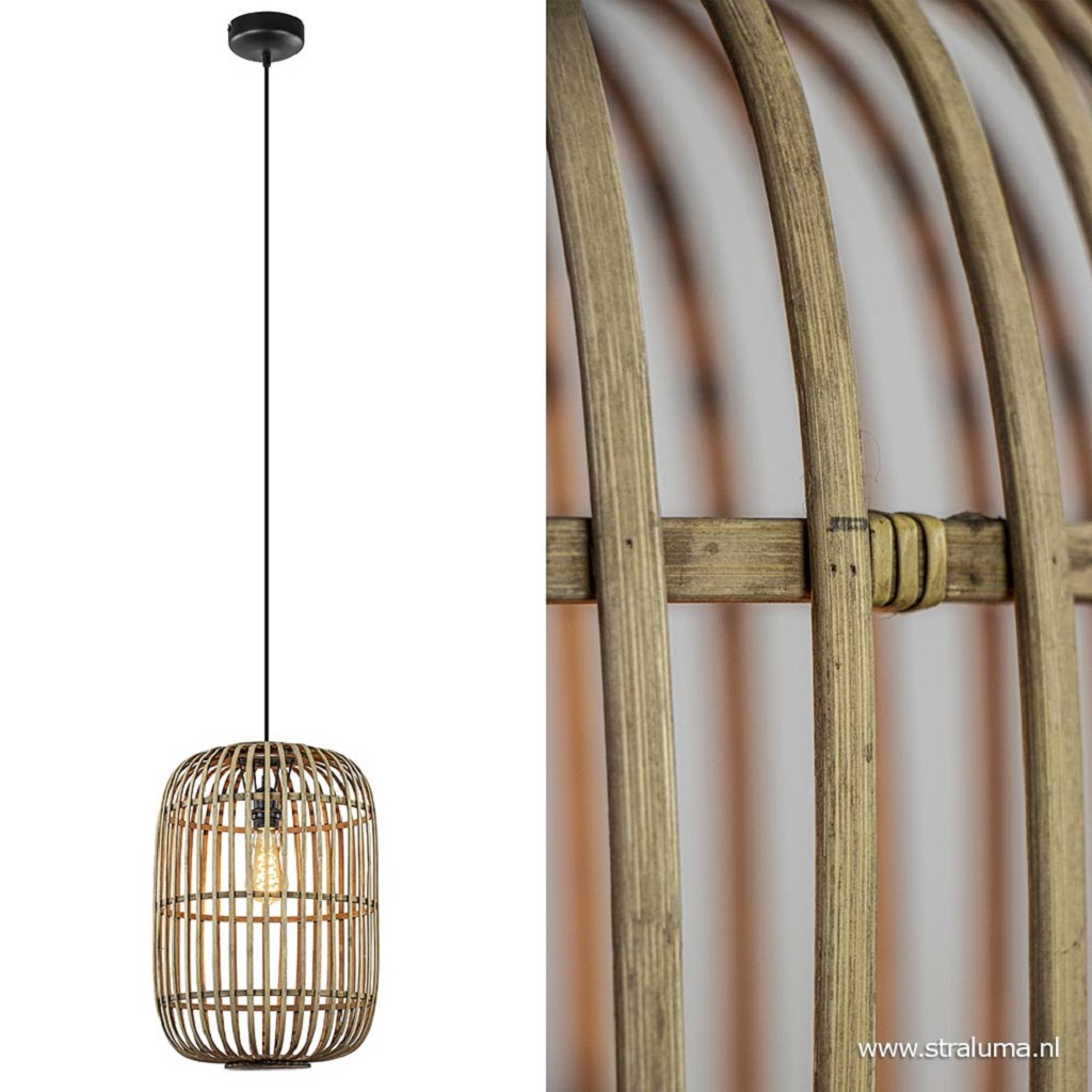 Grote hanglamp bamboe met zwart snoer
