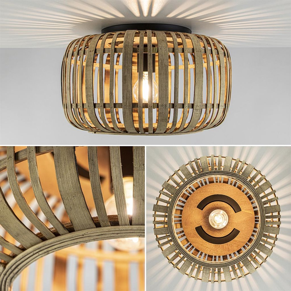 Plafondlamp bamboe open frame 40cm