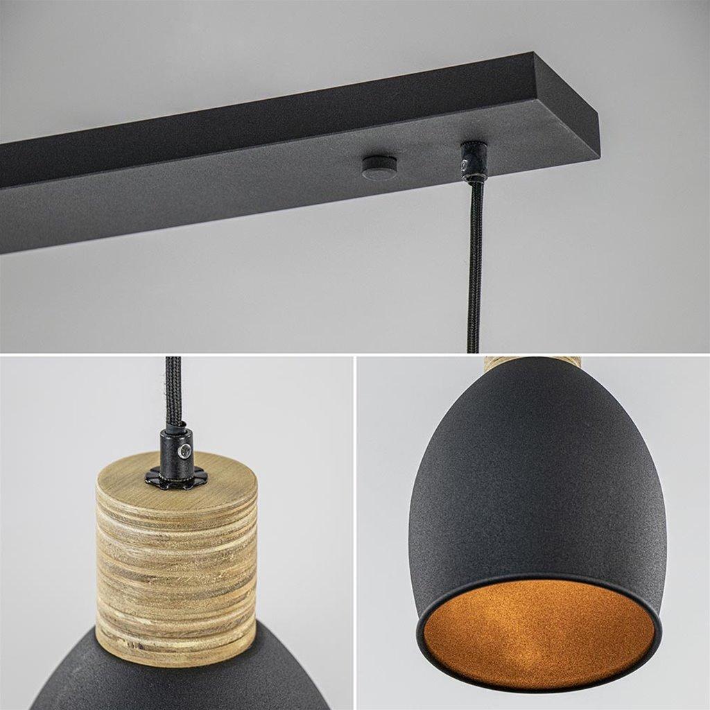 Industrieel landelijke hanglamp 3-lichts zwart met hout