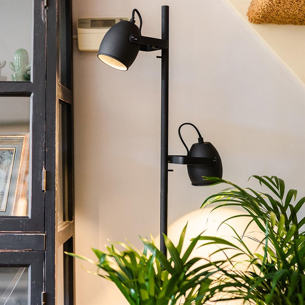 Industriële 2-lichts vloerlamp mat zwart