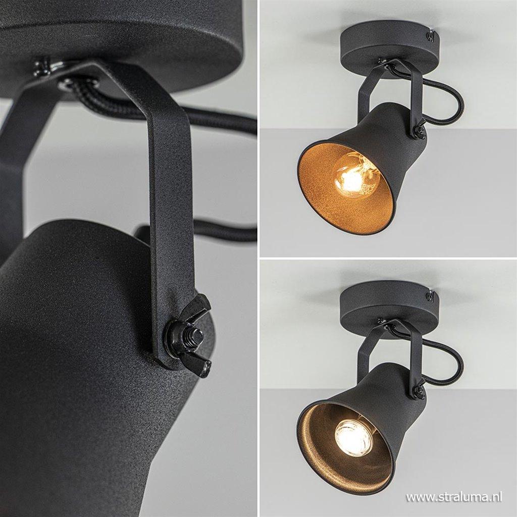 Industriële plafond/wandspot mat zwart