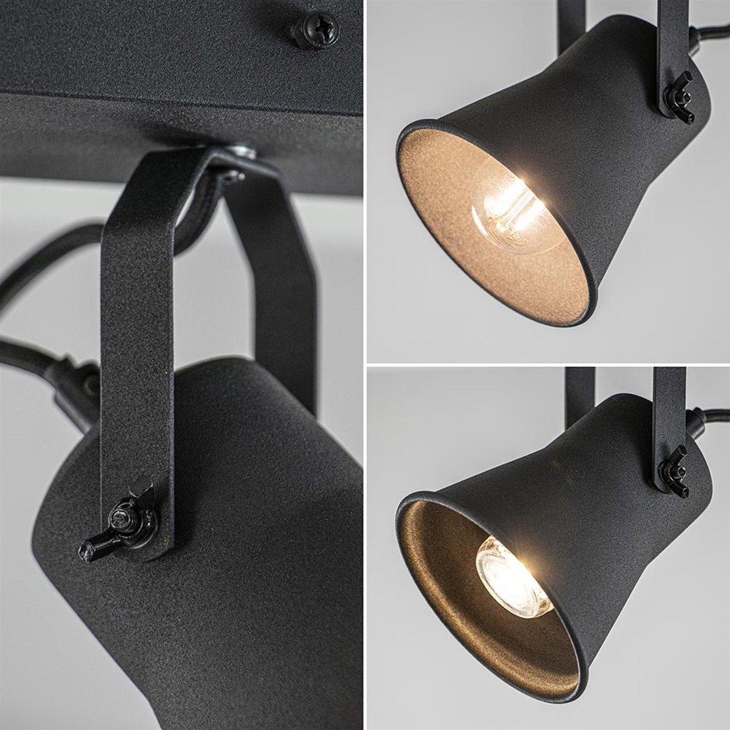 Metalen 3-lichts plafondlamp mat zwart verstelbaar