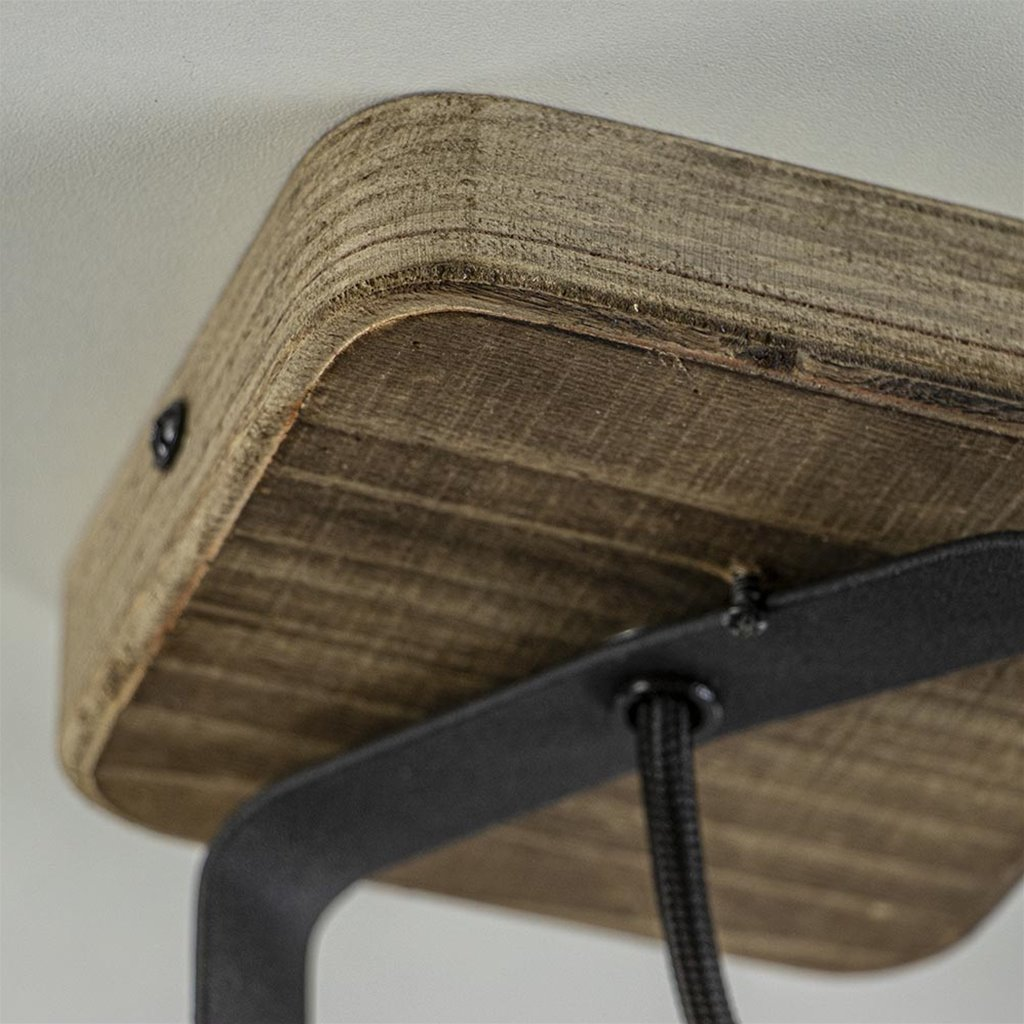 Stoere plafond/wandlamp mat zwart met hout
