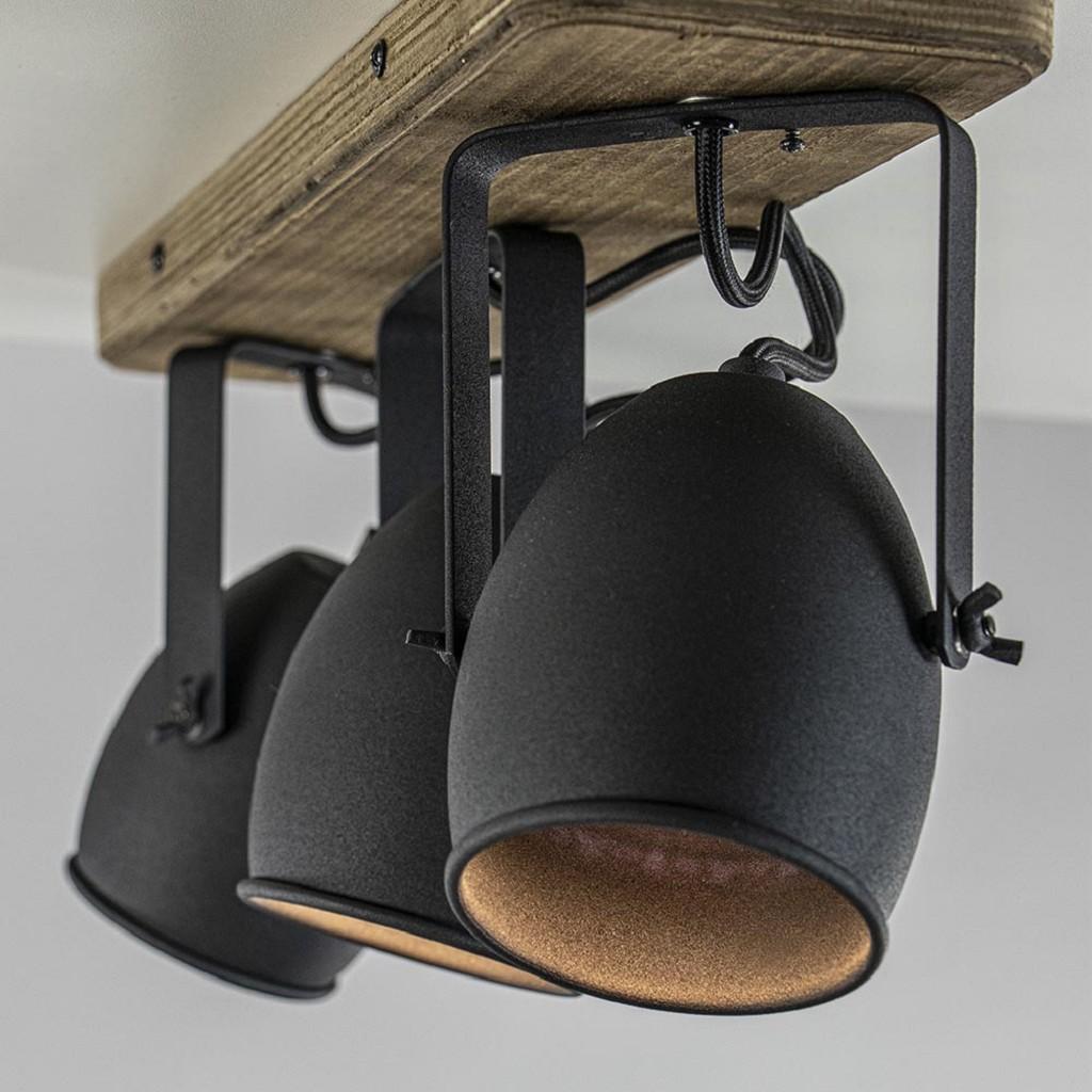 3-Lichts opbouwspot mat zwart met hout
