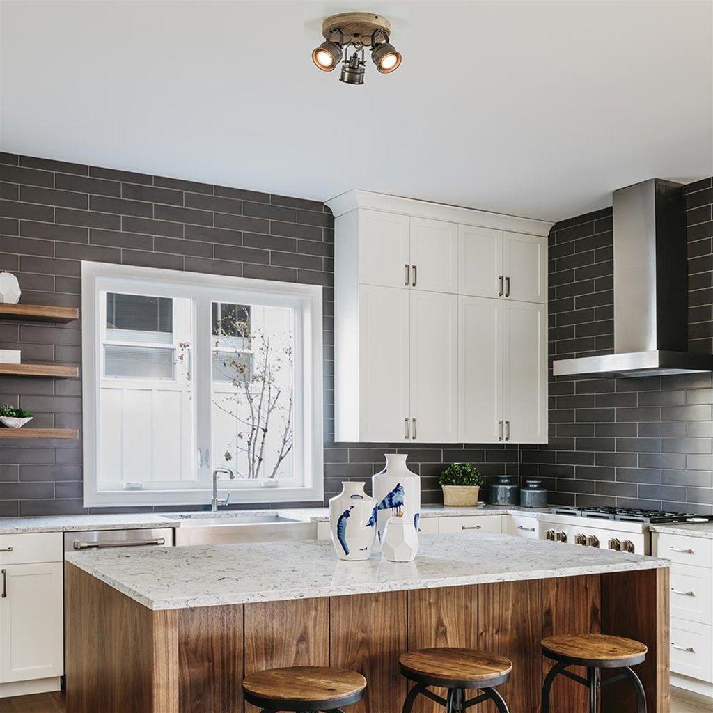 Industriële 3-lichts plafondspot zwart metaal met hout