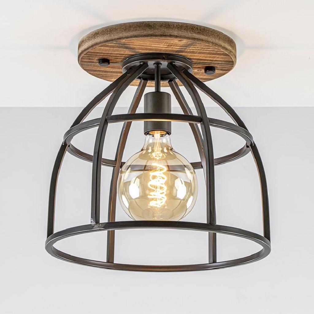 Industrieel landelijke plafondlamp kooi black steel