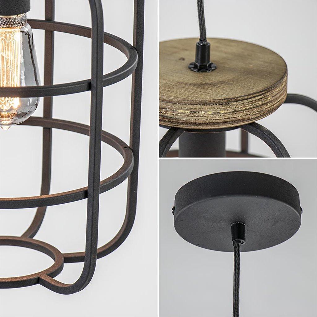 Hanglamp industrieel frame zwart/hout