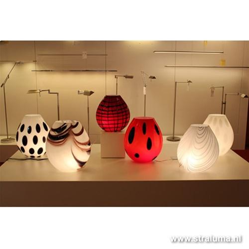 Tafellamp vaaslamp Murano glas wit