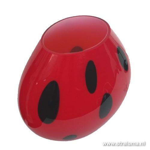 Tafellamp rood murano glas stip zwart