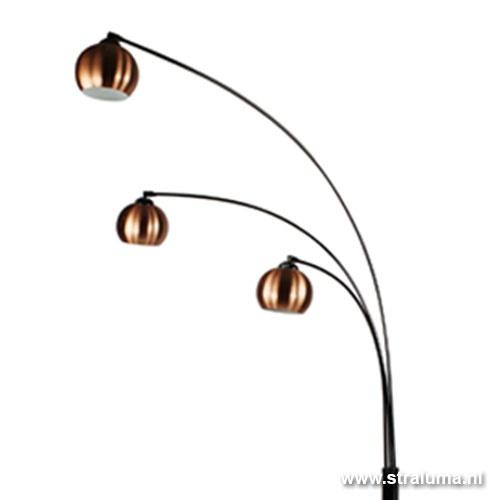 Vloerlamp 3-lichts zwart chr/koper