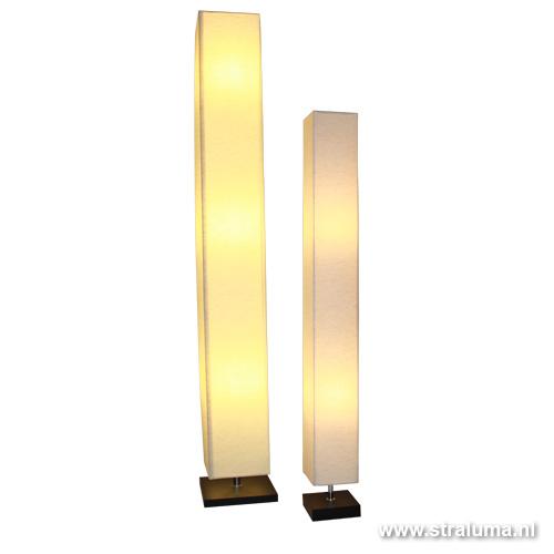 *Vierkante kolom vloerlamp linnen - www.straluma.nl