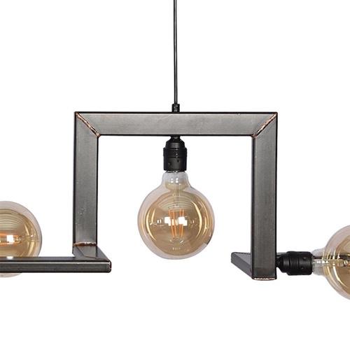 Metalen design hanglamp 7-lichts met koperen accenten