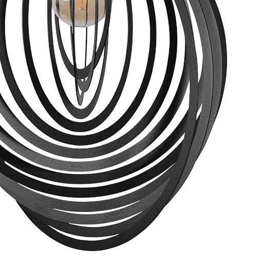 Grote hanglamp met zwarte metalen ringen 60 cm