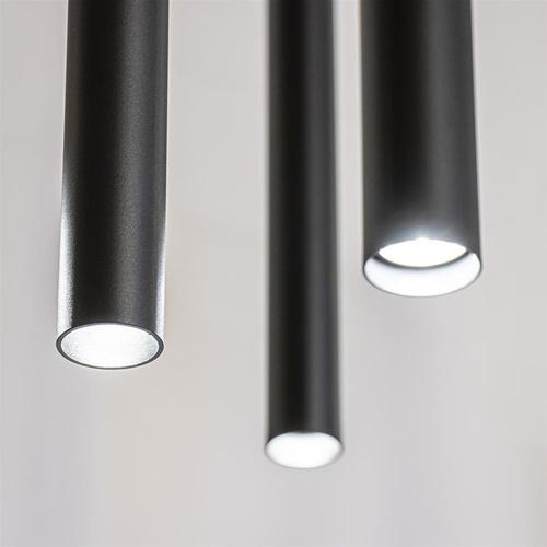Ovale 8-lichts hanglamp tubes zwart metaal