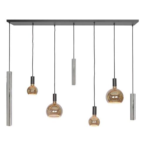 Design hanglamp 7-lichts zwart met nikkel en amber glas