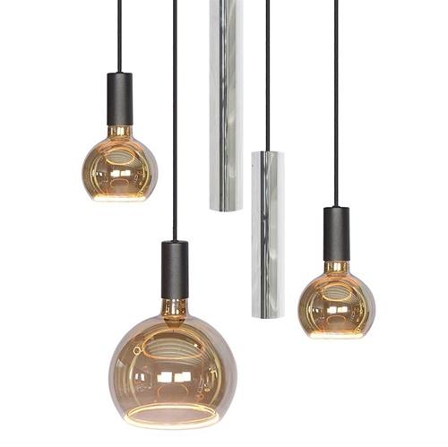 Ronde 5-lichts hanglamp amber glas met nikkel inclusief LED