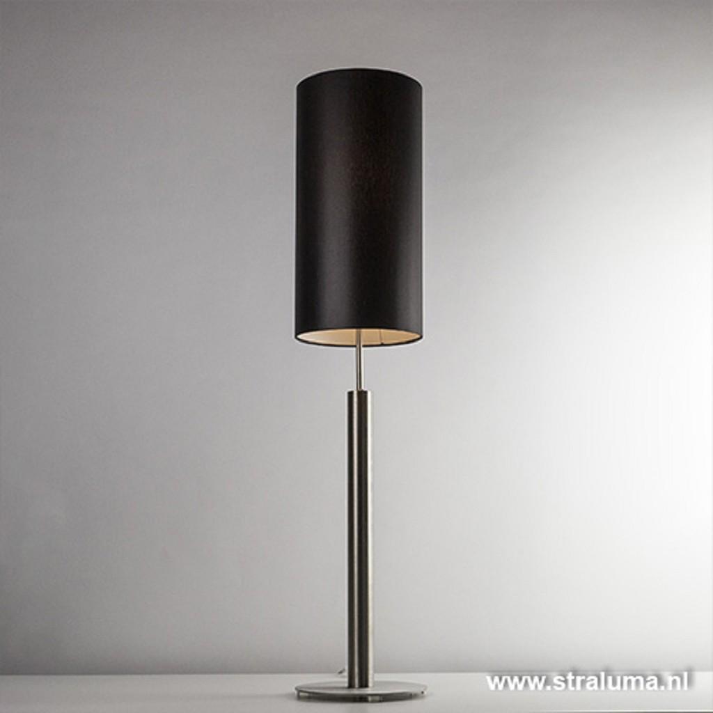 *Cilindertafellamp rvs zwart