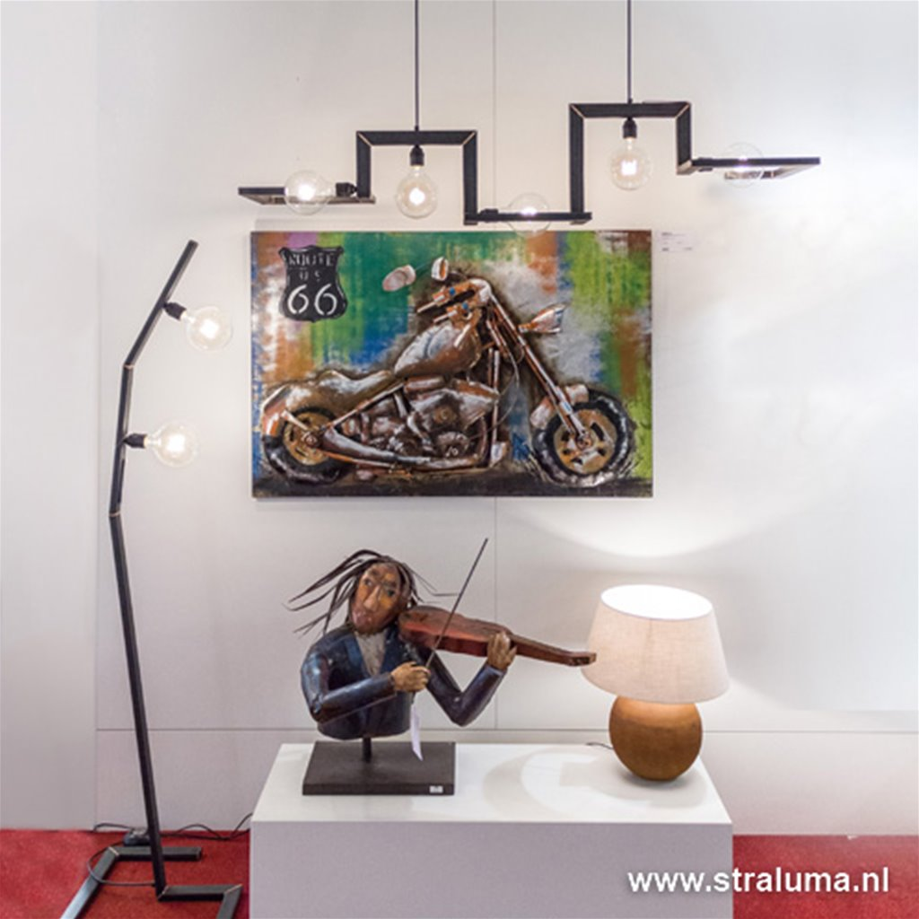 Metalen design staande lamp burned steel