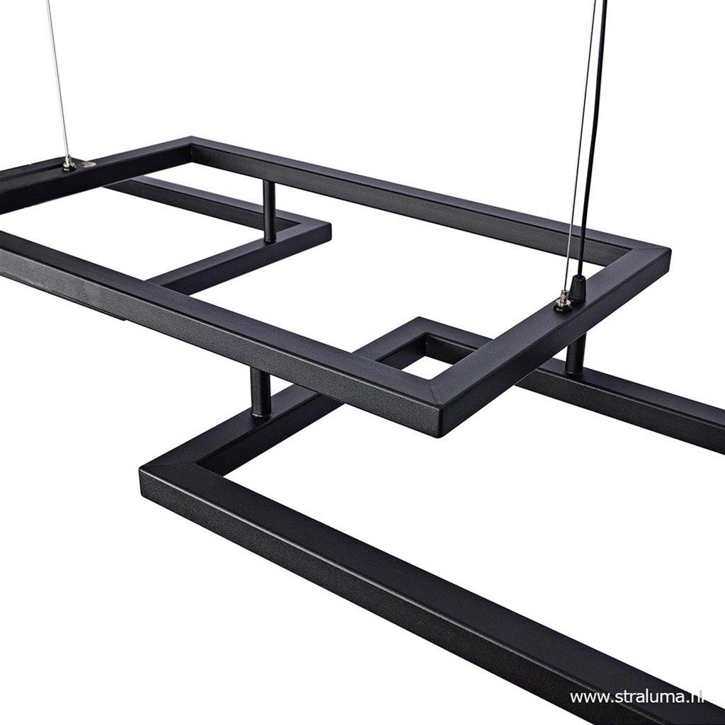 Zwarte design hanglamp frame incl. dimbaar LED