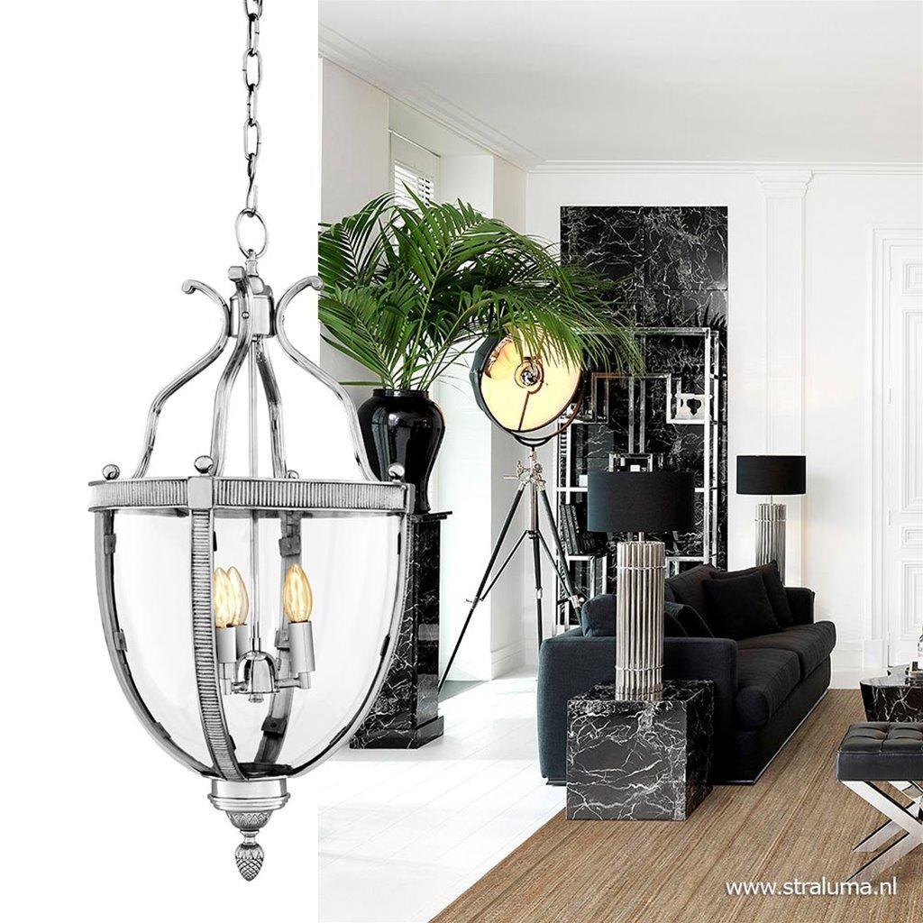 Hanglamp kelk lantaarn zilver glas
