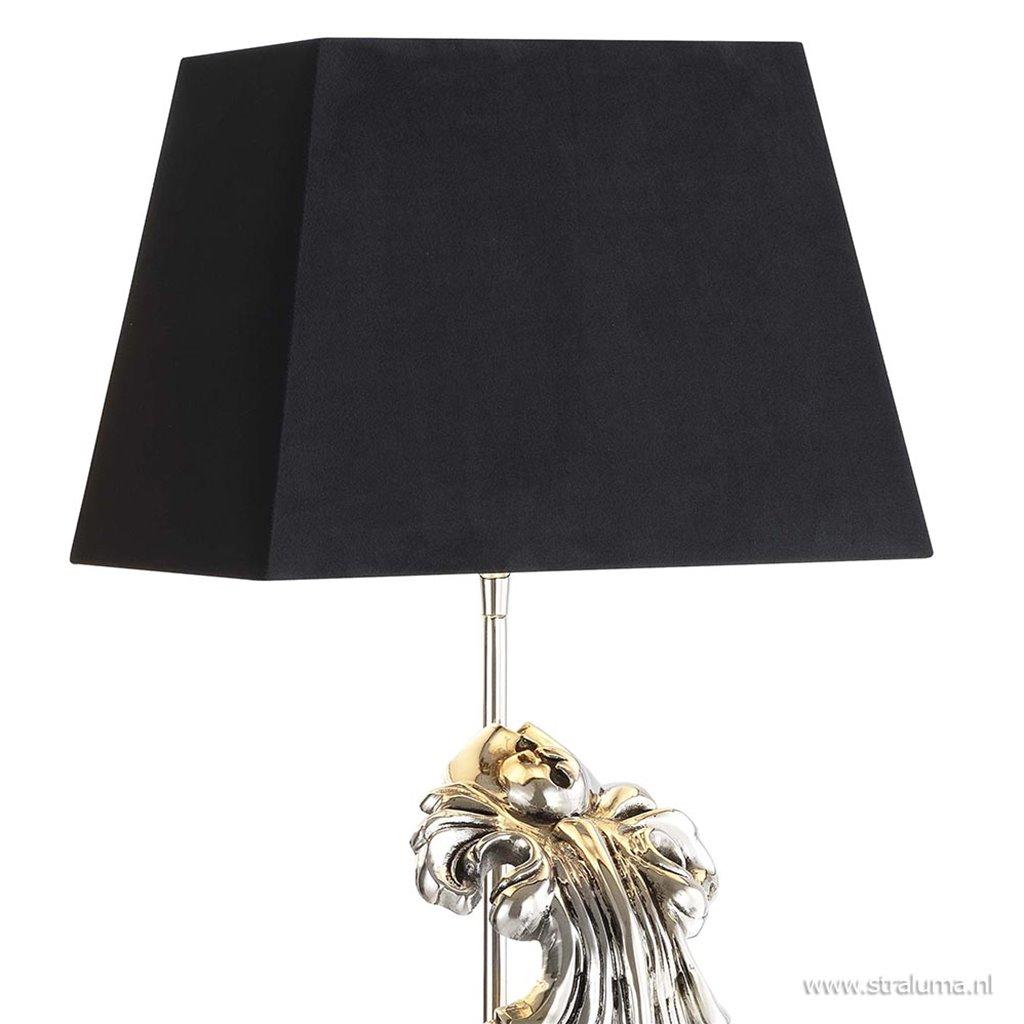 Tafellamp Beau Site zilver blad zwart