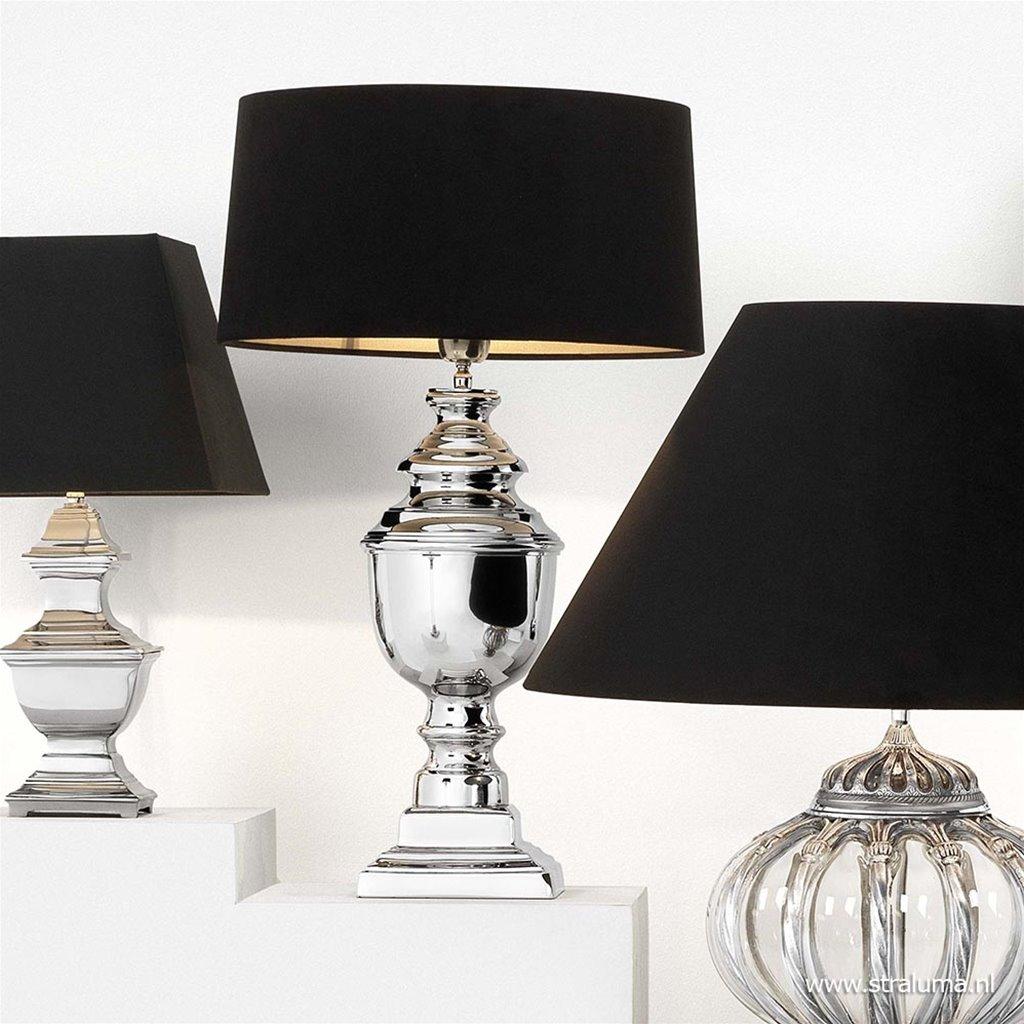 Tafellamp zilveren voet met zwart