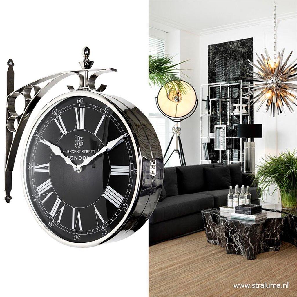 Uithangklok zilver en zwart 39 cm