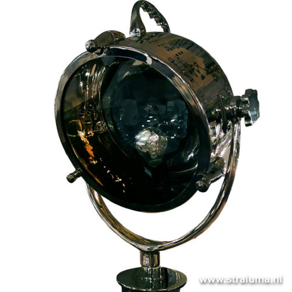 Driepoot staande lamp zwart zilver