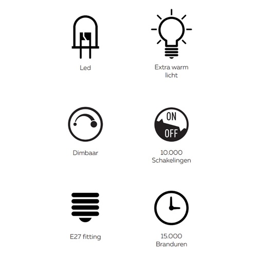 Calex Rada LED lamp Titanium 2200K dimbaar