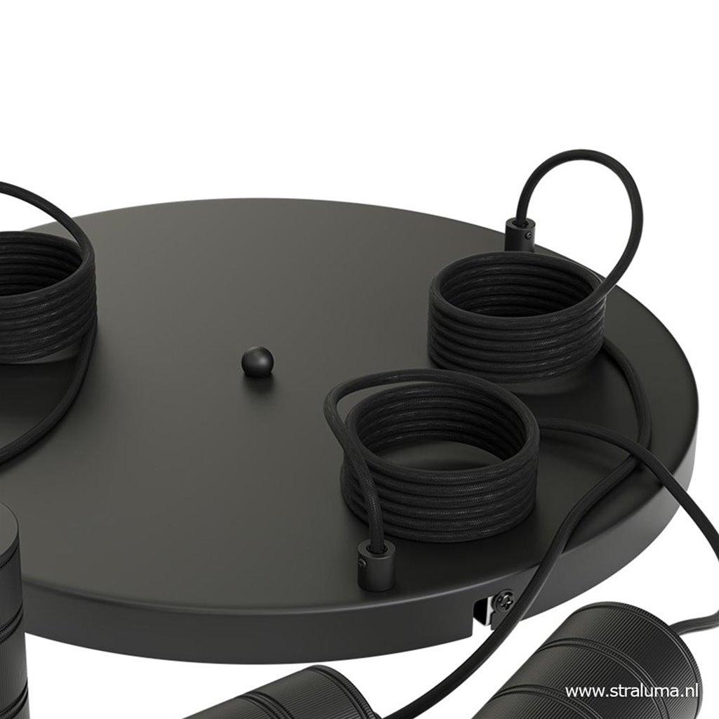 Plafondplaat 3-l rond 40cm zwart excl.lb
