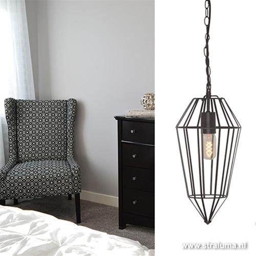 Moderne draad hanglamp zwart keuken-h