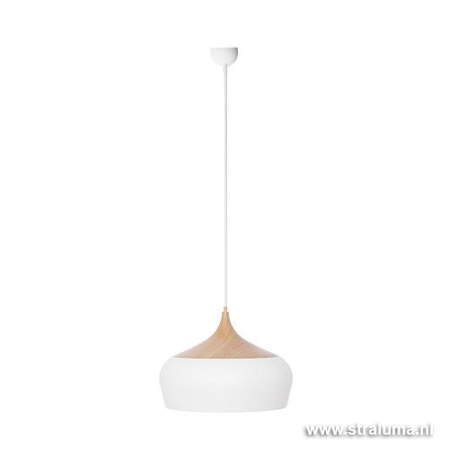 Scandinavische hanglamp wit en hout