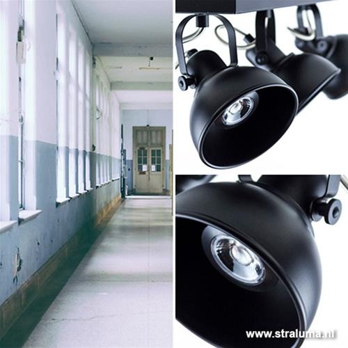Plafondspot 3-L zwart industrieel incl.gu10