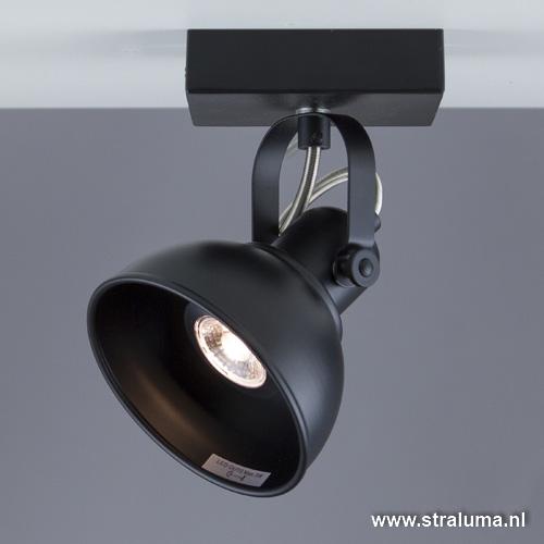 Plafond/wandspot zwart industrieel gu10
